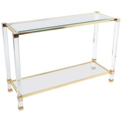 Lucite and Brass Signed Console Table by Pierre Vandel, Paris, 1970
