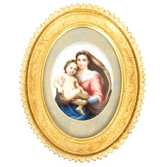 Antique Berlin KPM Plaque of Madonna and Child, 19th Century