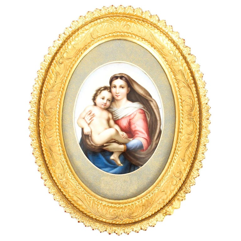 Antique Berlin KPM Plaque of Madonna and Child, 19th Century For Sale