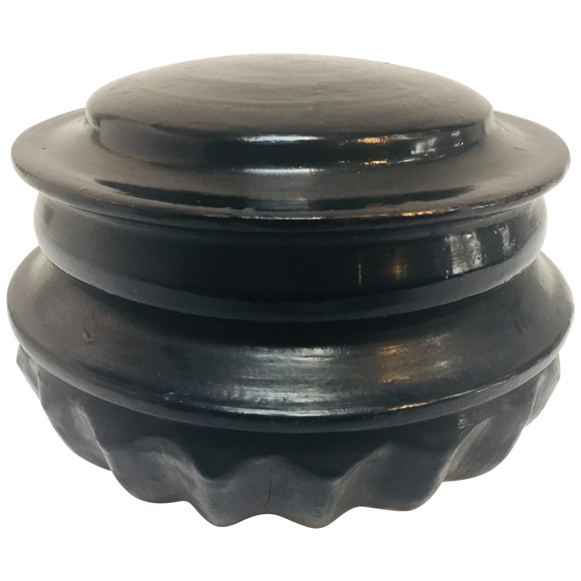 Burmese Black and Red Round Lacquer Offering Vessel Urn Box