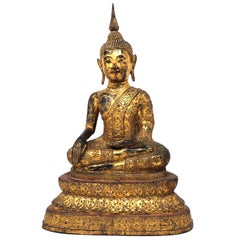 Thai Gilt Bronze Seated Earth Touching Buddha Figure, Late 19th Century