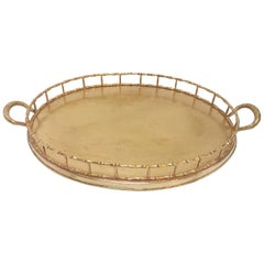 Hollywood Regency Faux Bamboo Oval Brass Serving Tray