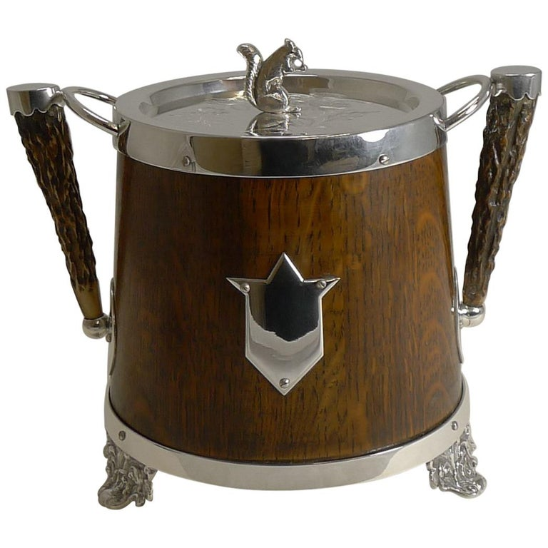 Antique English Oak and Silver Plate Biscuit Box / Barrel circa 1900, Squirrel For Sale
