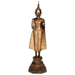 Thai Gilt Bronze Standing Buddha Figure, Late 19th Century