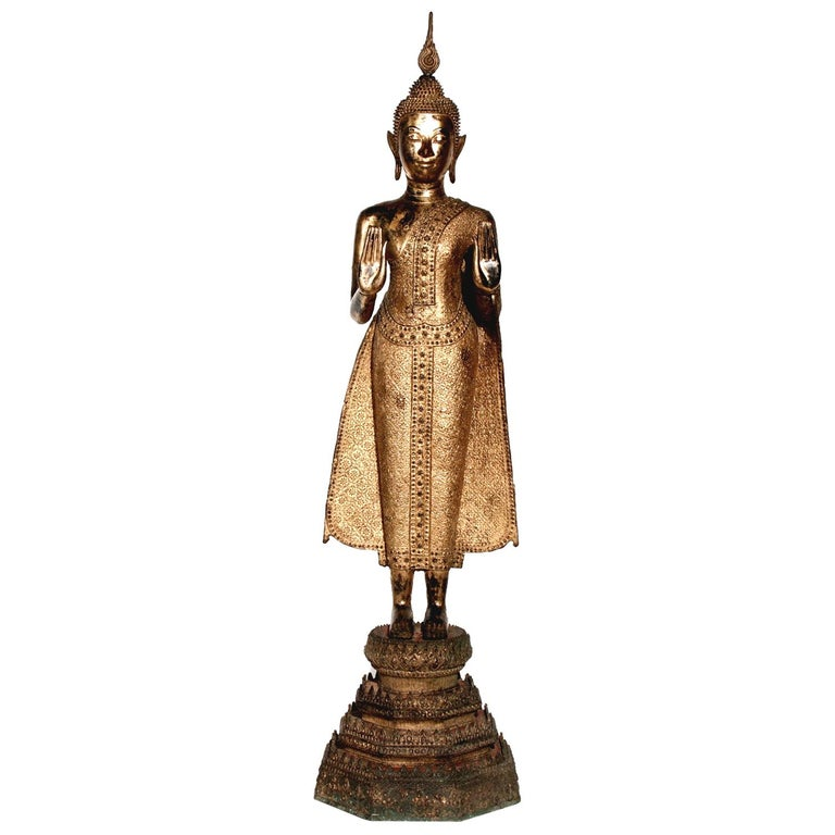 Thai Gilt Bronze Standing Buddha Figure, Late 19th Century For Sale