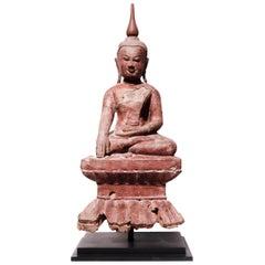 Burmese Lacquered Wood Seated Buddha Figure, 18th Century