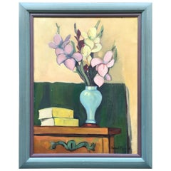 "Daniel Pipard '1914-1978' Oil on Canvas ""Vase De Fleur Sur Une Commode"""