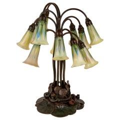 "Art Nouveau Twelve Light ""Pulled Feather"" Lily Table Lamp by, Tiffany Studios"