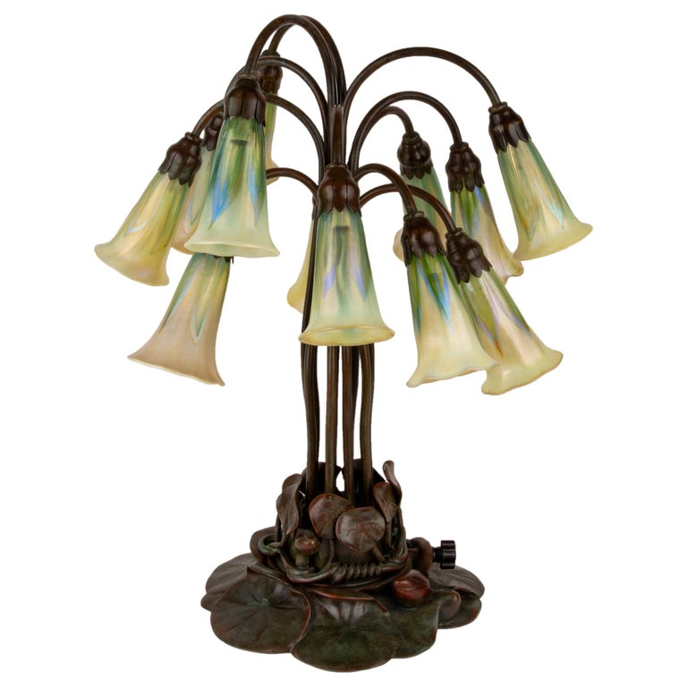 "Art Nouveau Twelve Light ""Pulled Feather"" Lily Table Lamp by, Tiffany Studios For Sale"