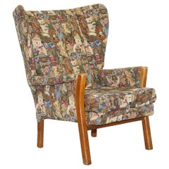 Rare Vintage Wingback Armchair with Teddy Bear Upholstery Parker Knoll Frame