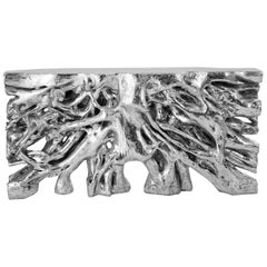 Root Console Table Hand Carved Liquid Resin Finished with Silver Leaf