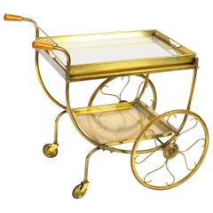 Antique French Modernist Gilded Drinks Serving Trolley, Midcentury