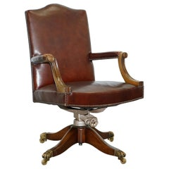 1930s Hillcrest Vintage Brown Leather Gainsborough Directors Captains Chair