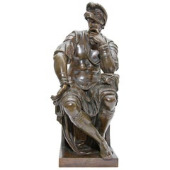 Bronze Sculpture Lorenzo De Medici after Michelangelo 19th Century Grand Tour