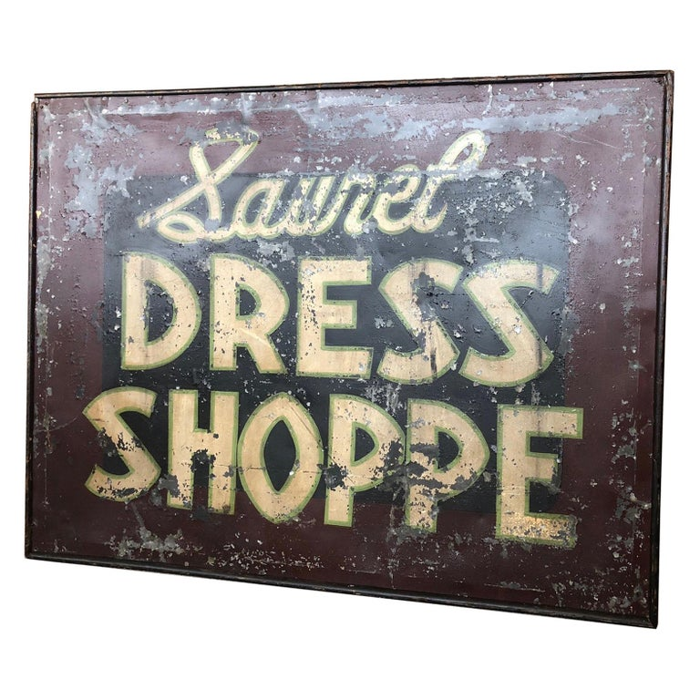 Trade Sign of Tin for Dress Shoppe For Sale