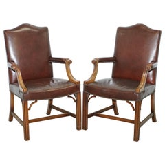 Pair of Original 1930s Hillcrest Vintage Brown Leather Gainsborough Armchairs