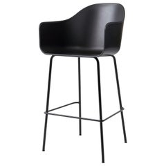 Harbour Chair, Bar Height Base in Black Steel,  Black Shell