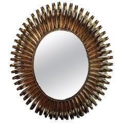 Mid-20th Century Gilt Tole Oval Mirror