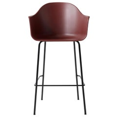Harbour Chair, Bar Height Base in Black Steel, Burning Red Shell