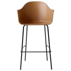 Harbour Chair, Bar Height Base in Black Steel, Khaki Shell