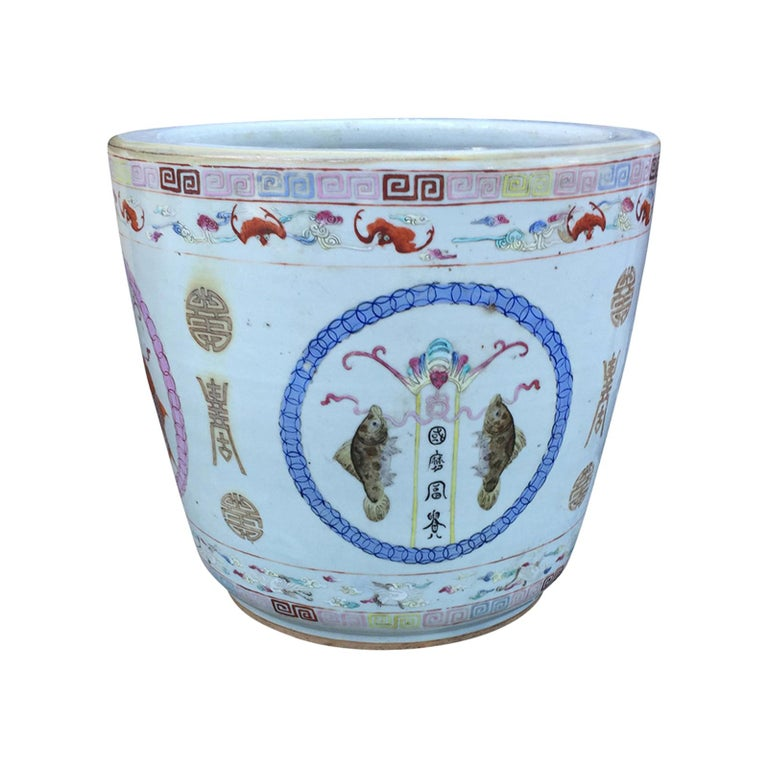 Large Chinese Porcelain Cachepot Planter, circa 1900 For Sale