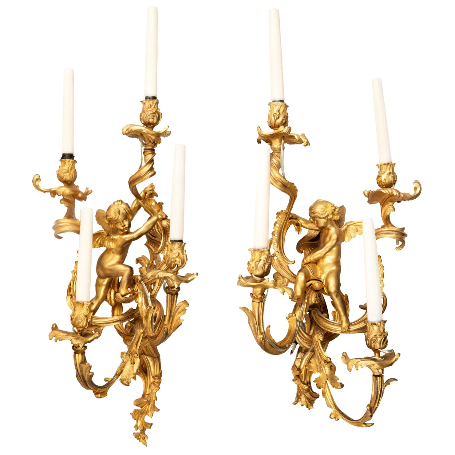 Large Pair Classical 19th Century Wall Lights
