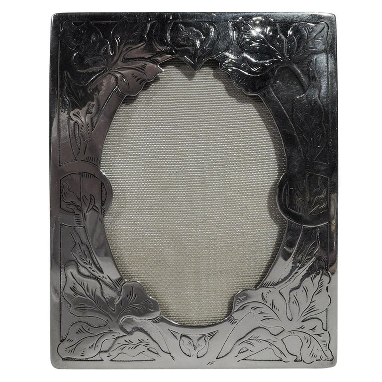 American Art Nouveau Sterling Silver Picture Frame by International For Sale
