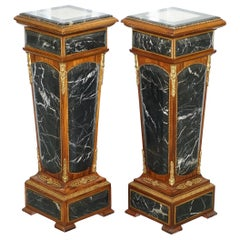 Pair of French Empire Marble, Kingwood & Ormolu Mounts Pedestal Columns Pillars