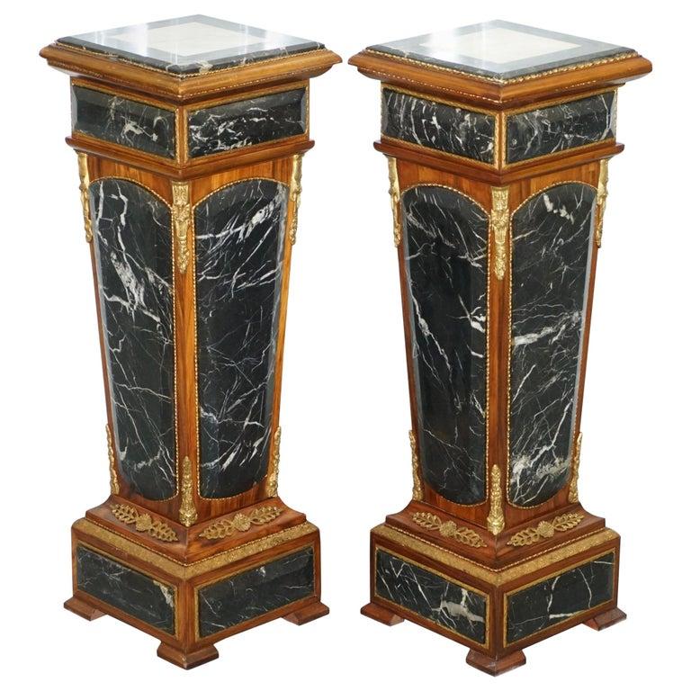 Pair of French Empire Marble, Kingwood & Ormolu Mounts Pedestal Columns Pillars For Sale