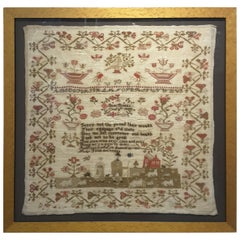English Sampler by Jane Briggs Dated 1830 in a Birdseye Maple Frame