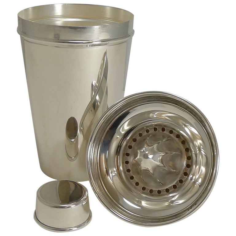 Art Deco English Silver Plated Cocktail Shaker, Integral Lemon Squeezer For Sale