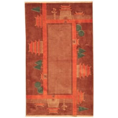 Red Vintage Chinese Deco Rug