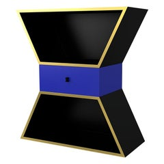 Apollon Black Contemporary Sculptural Cabinet Lacquered Wood