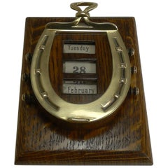 Rare Antique English Equestrian Desk Letter Clip, Horseshoe Perpetual Calendar