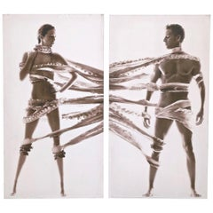 Pair of Large Photographies on Canvas 'Anonymous', Italy, 1980s
