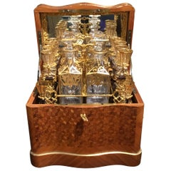 Tantalus Set of Rosewood, Kingwood and Tulipwood Complete with Baccarat Glasses