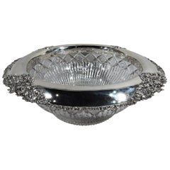 Antique American Brilliant-Cut Glass and Sterling Silver Punch Bowl