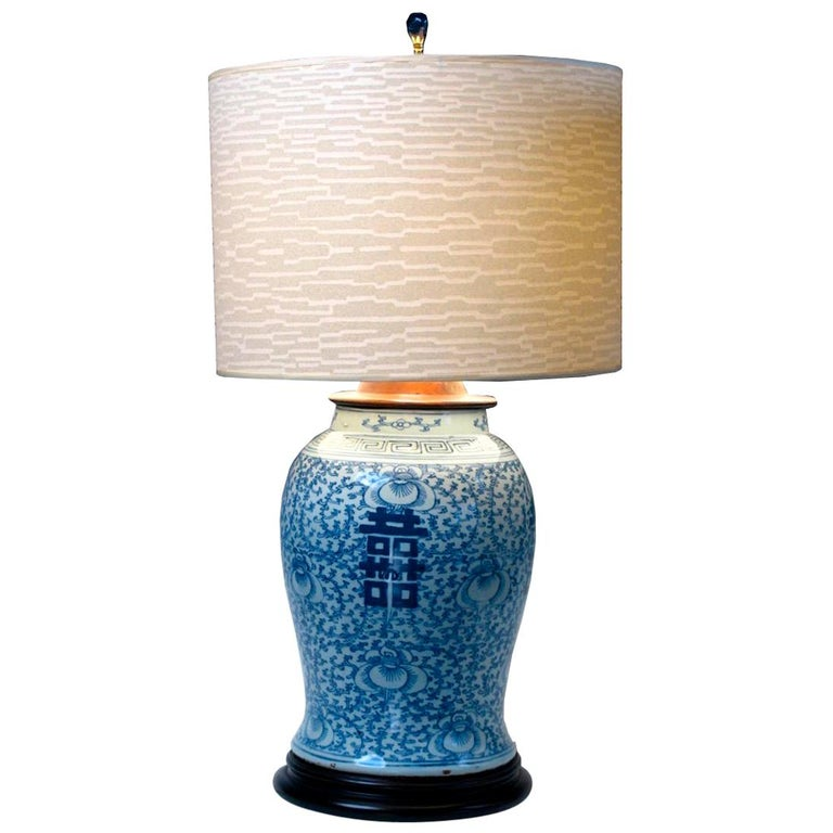 Chinese Blue and White Baluster Vase Table Lamp  For Sale