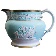Ridgway Porcelain Sprigged Large Jug with Light Blue Ground, circa 1820
