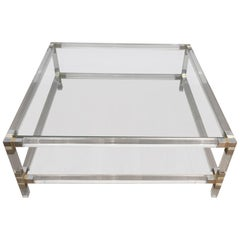 Square Lucite Coffee Table with Chrome Corners and Glass Tops