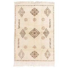 Vintage Midcentury Moroccan Handmade Berber Wool Floor Rug