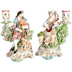 Derby Porcelain Candlesticks with Figures of Musicians, circa 1760-1765