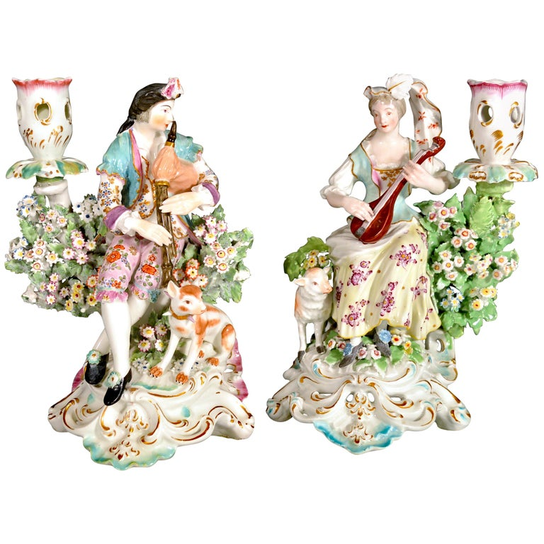 Derby Porcelain Candlesticks with Figures of Musicians, circa 1760-1765 For Sale
