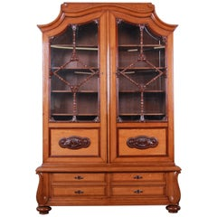 19th Century Victorian Carved Oak Glass Front Double Bookcase