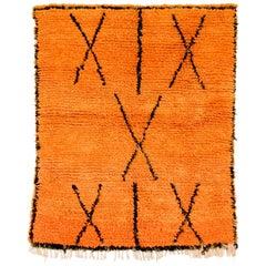 Vintage Moroccan Berber Azilal Orange Handmade Wool Floor Rug