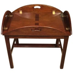 19th Century Mahogany Folding Butlers Tray on Stand