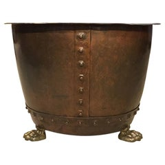 Good 19th Century Patinated Copper Riveted Log Bin