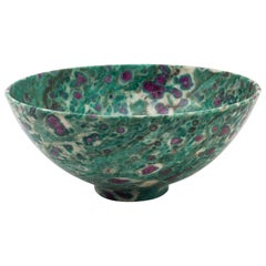 Red Ruby in Green Fuchsite Semi-Precious Footed Stone Bowl