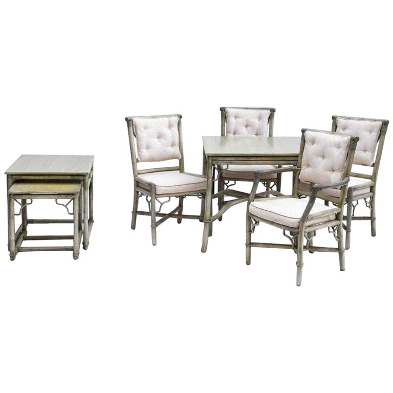 Faux Bamboo Rattan Table and Chairs and Side Tables For Sale
