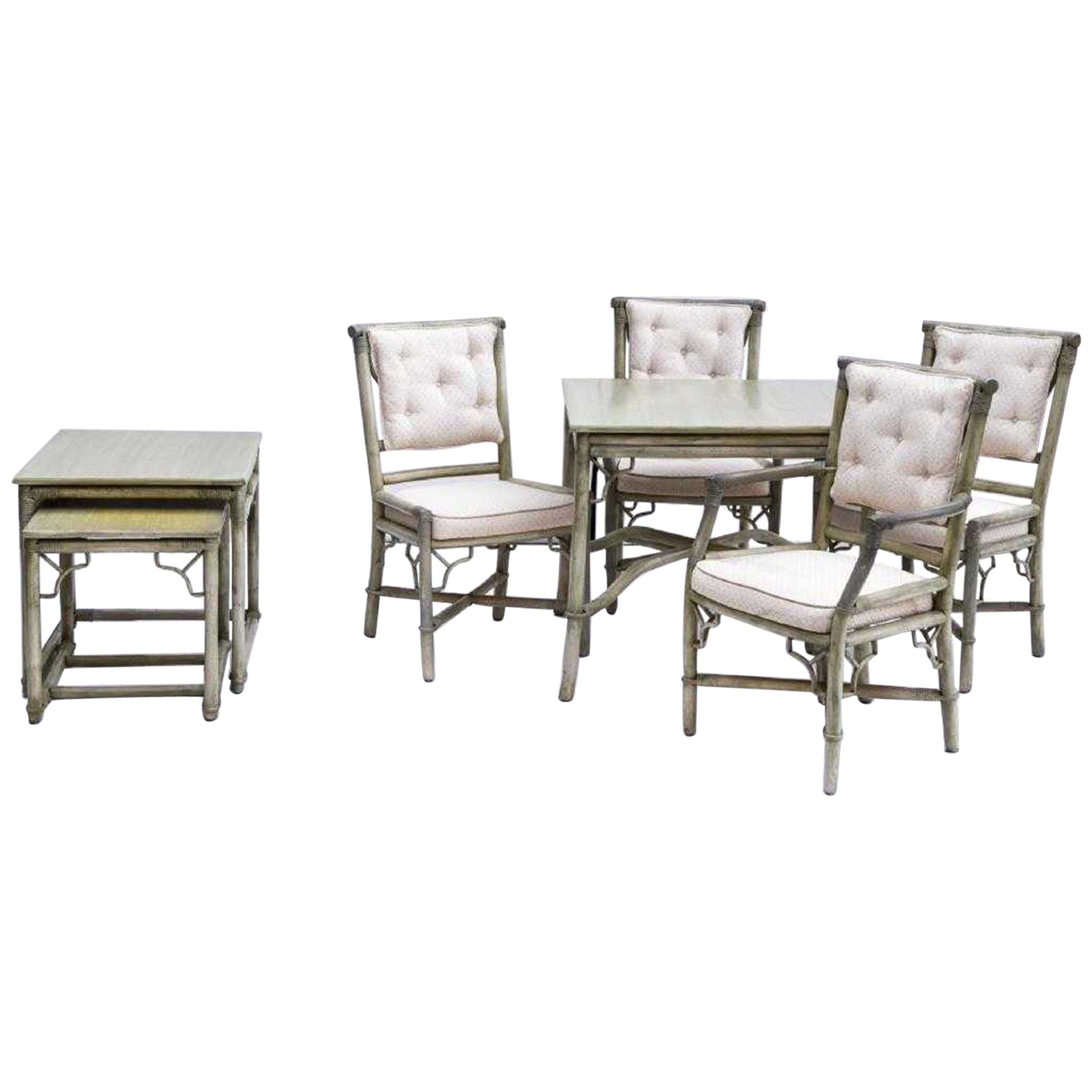 Faux Bamboo Rattan Table and Chairs and Side Tables